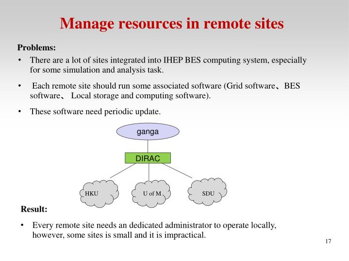Manage resources in remote sites