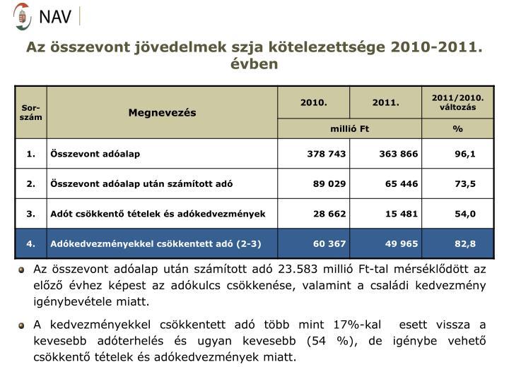 Az sszevont jvedelmek szja ktelezettsge 2010-2011. vben
