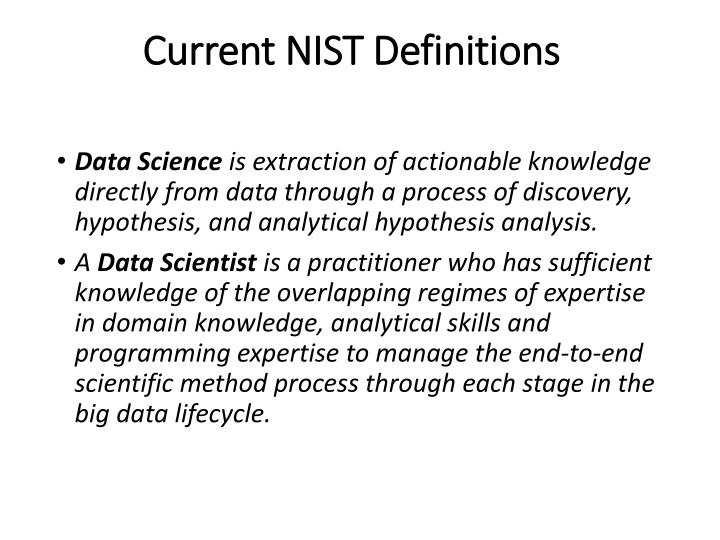 Current NIST Definitions