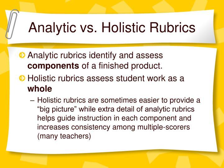 Analytic vs. Holistic Rubrics