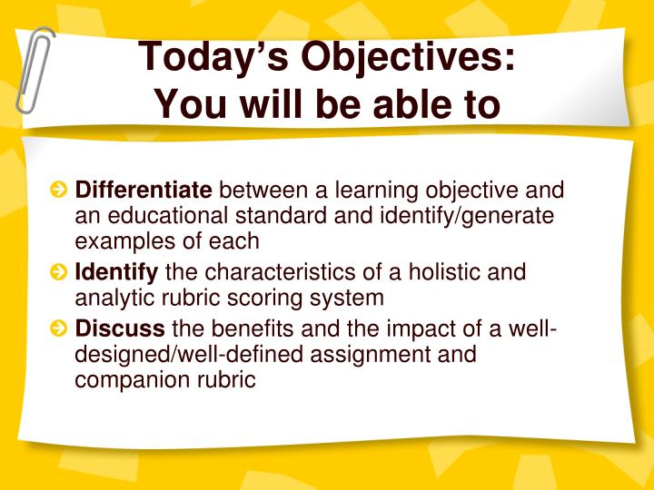 Today s objectives you will be able to