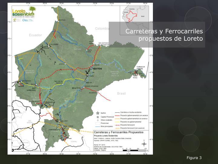 Carreteras y Ferrocarriles propuestos de Loreto