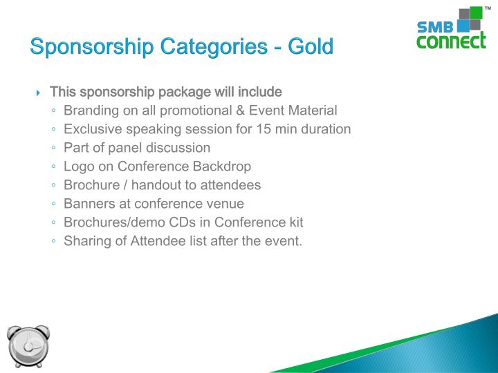 Sponsorship Categories - Gold