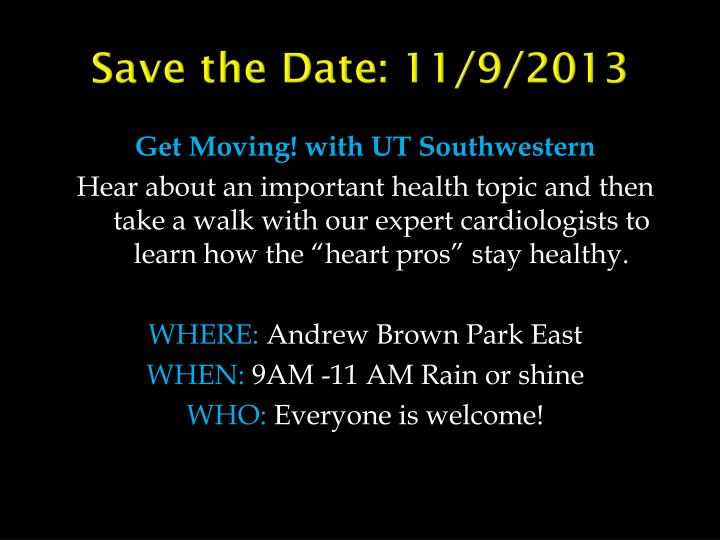 Save the Date: 11/9/2013
