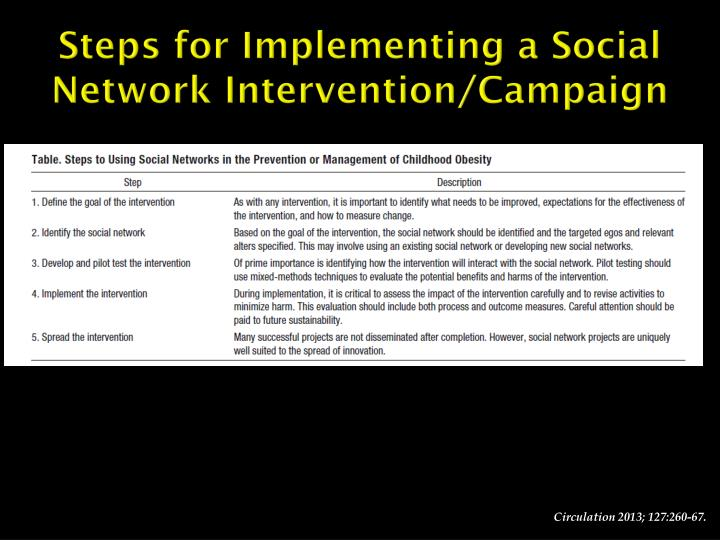 Steps for Implementing a Social Network Intervention/Campaign
