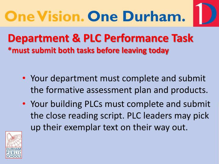 Department & PLC Performance Task