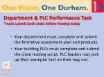 department plc performance task must submit both tasks before leaving today