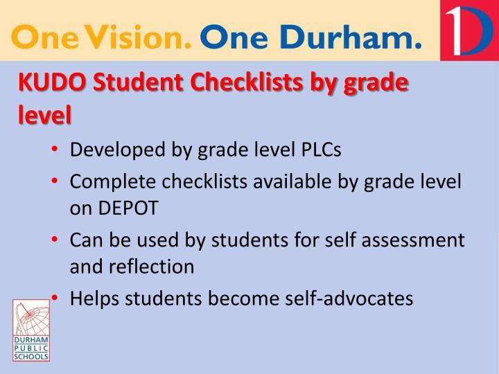 KUDO Student Checklists by grade level
