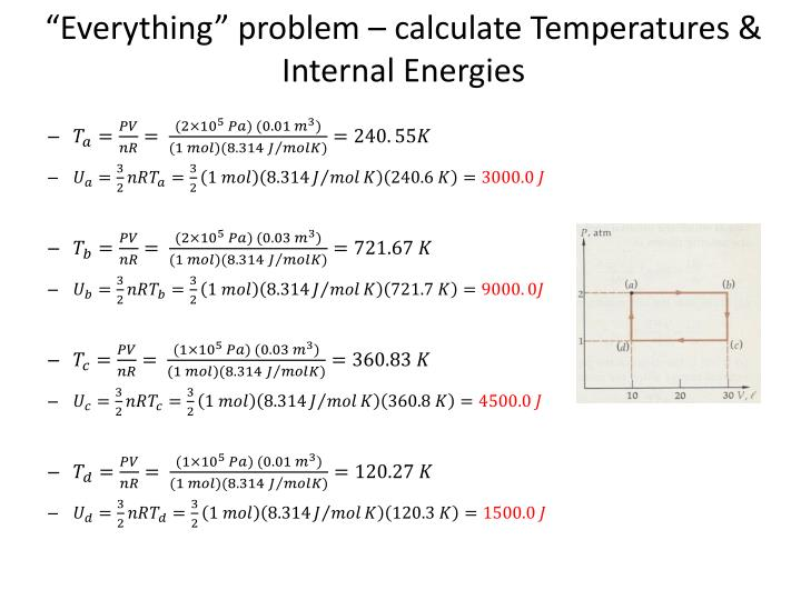 """Everything"" problem – calculate Temperatures & Internal Energies"