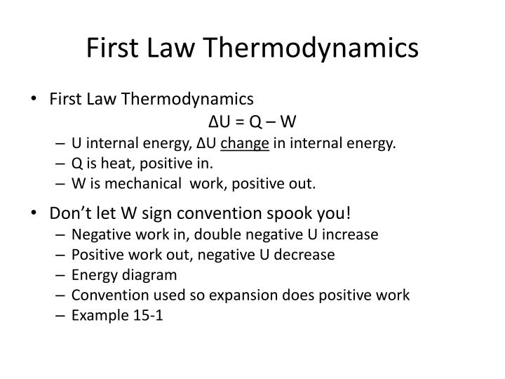 First law thermodynamics