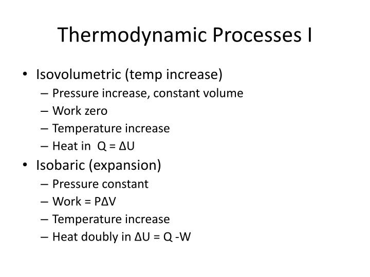 Thermodynamic Processes I