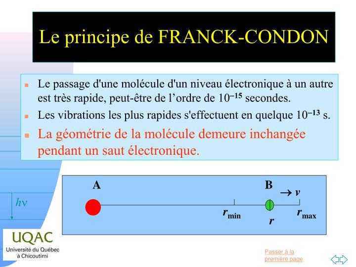 Le principe de FRANCK-CONDON