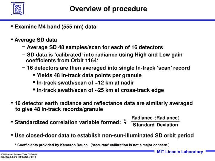 Overview of procedure