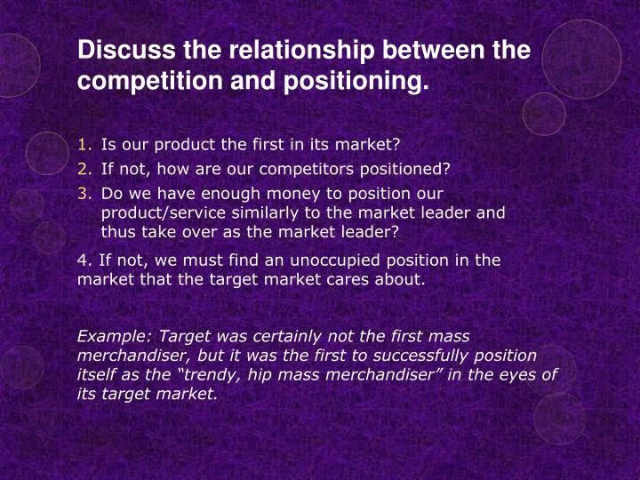 Discuss the relationship between the competition and positioning.