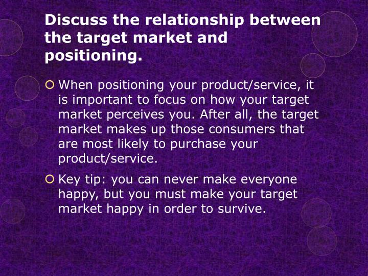 Discuss the relationship between the target market and positioning.