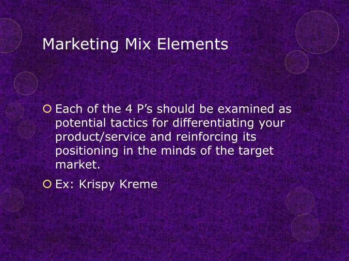 Marketing Mix Elements