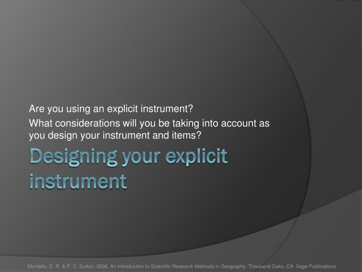 Are you using an explicit instrument?