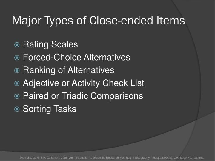 Major Types of Close-ended Items