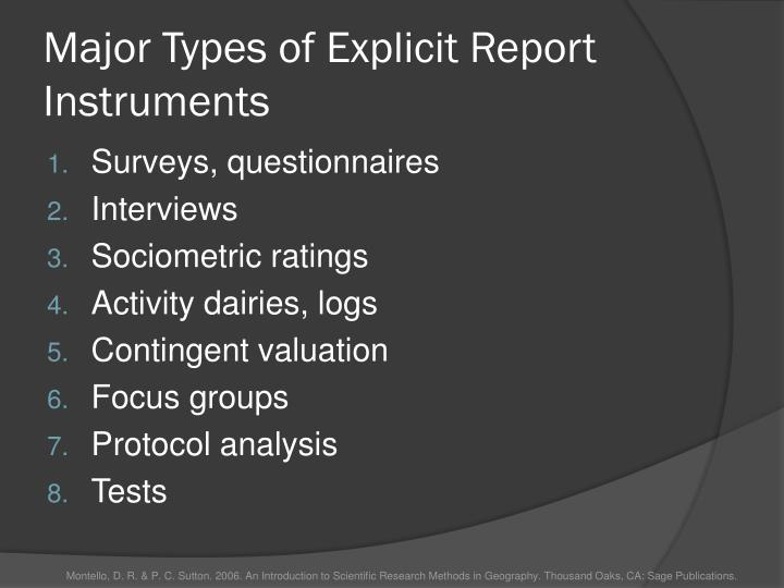 Major types of explicit report instruments