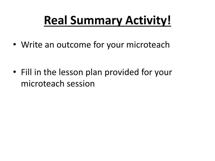 Real Summary Activity!