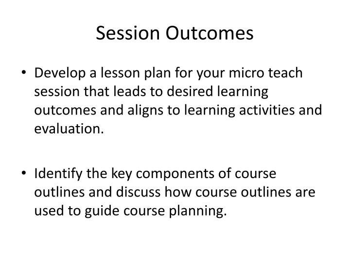 Session Outcomes