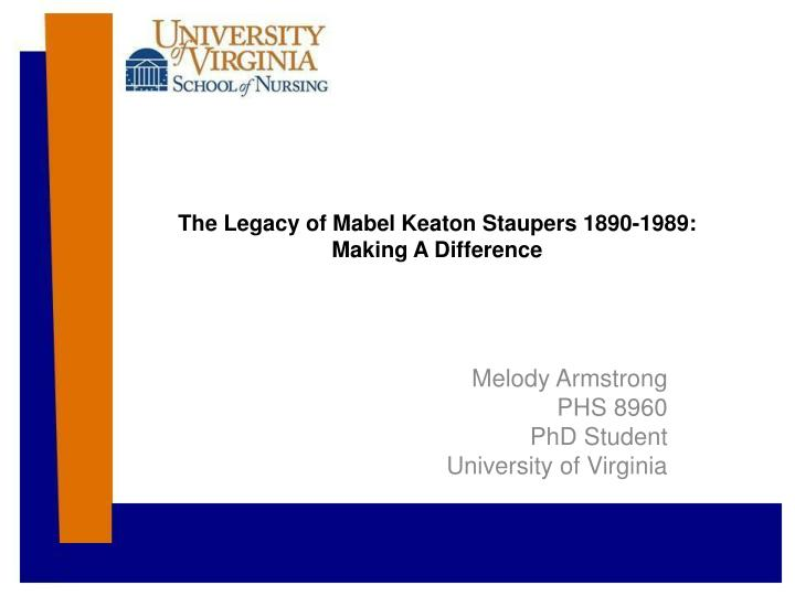 The legacy of mabel keaton staupers 1890 1989 making a difference