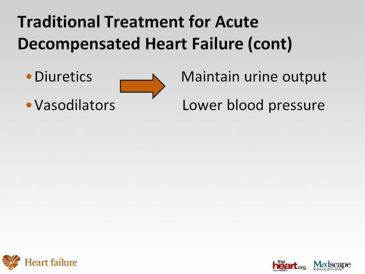 Traditional Treatment for Acute Decompensated Heart Failure (cont)