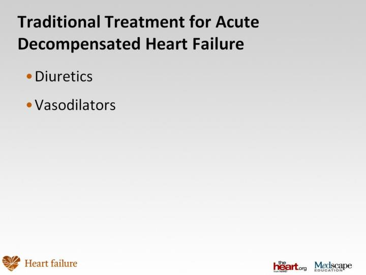 Traditional treatment for acute decompensated heart failure