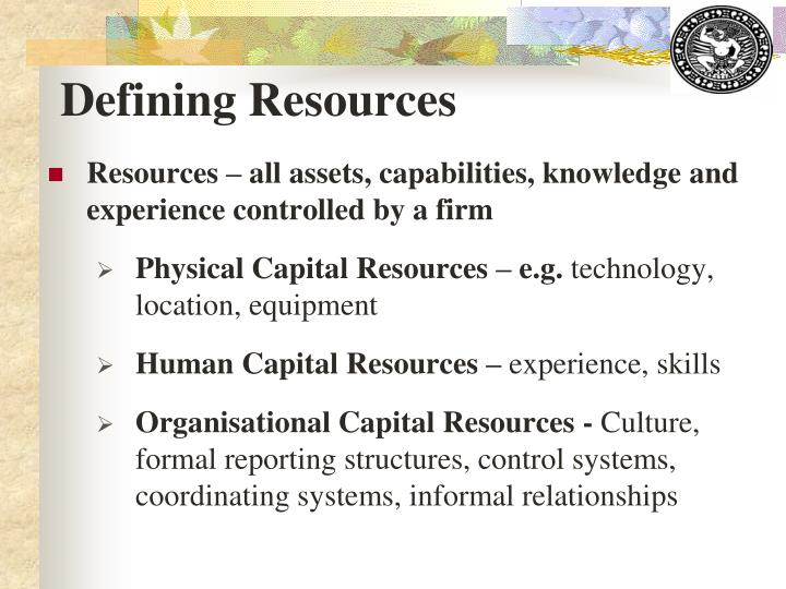 Defining Resources