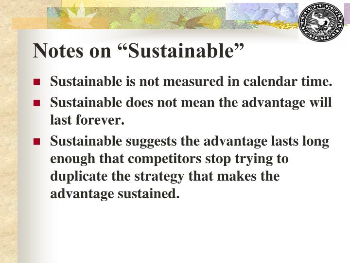 "Notes on ""Sustainable"""