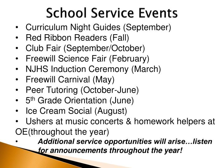 School Service Events