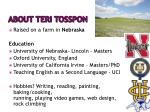 about teri tosspon