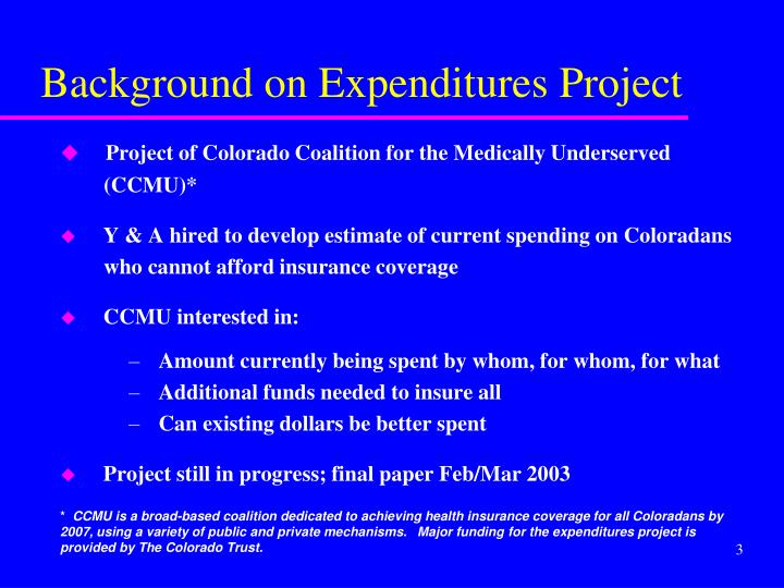 Background on Expenditures Project