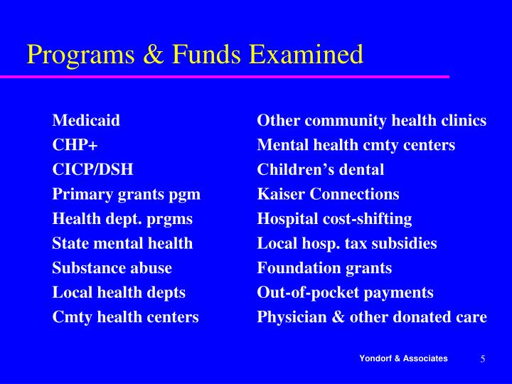 Programs & Funds Examined