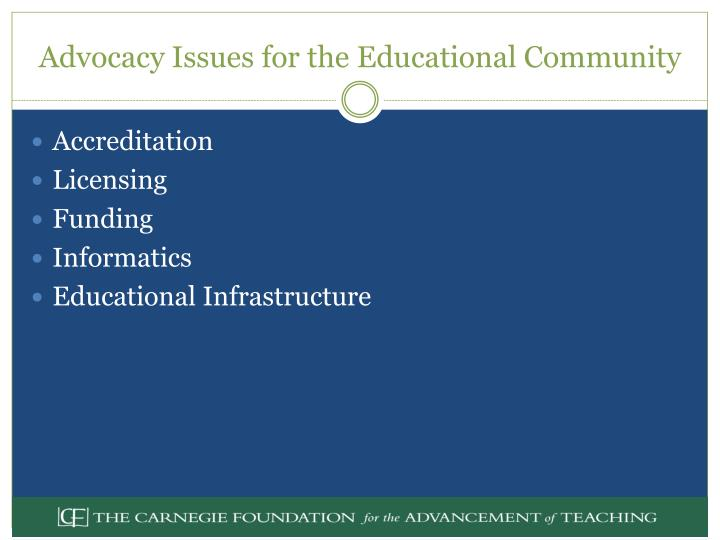 Advocacy Issues for the Educational Community