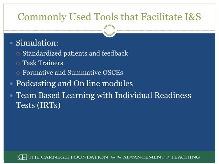 Commonly Used Tools that Facilitate I&S