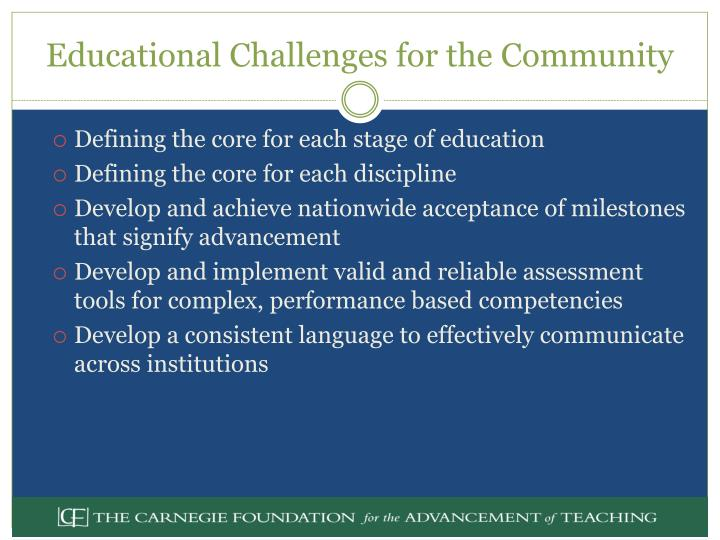 Educational Challenges for the Community