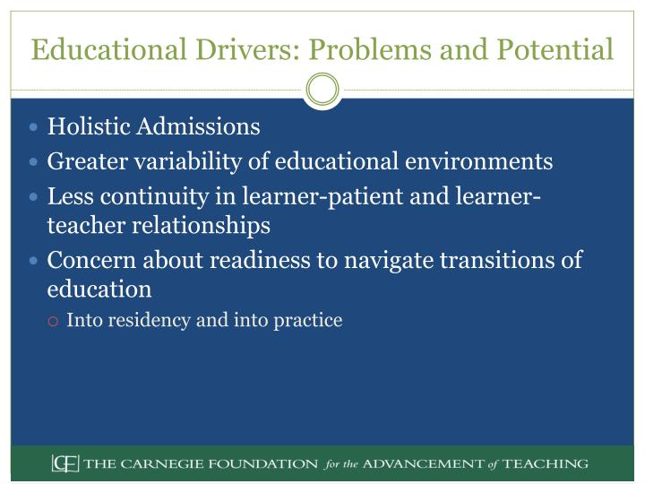 Educational Drivers: Problems and Potential