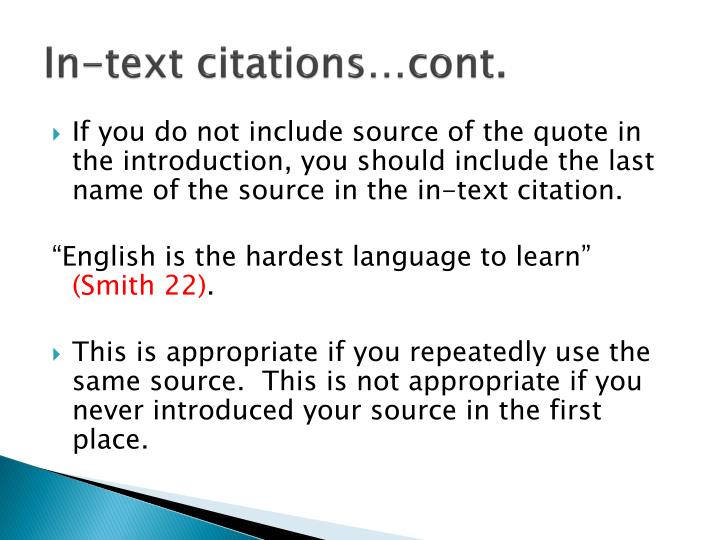 In-text citations…cont.