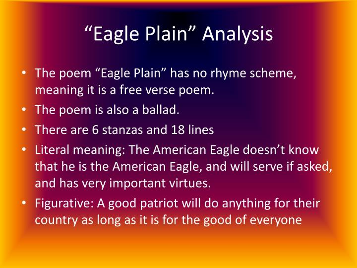Poetry analysis the eagle