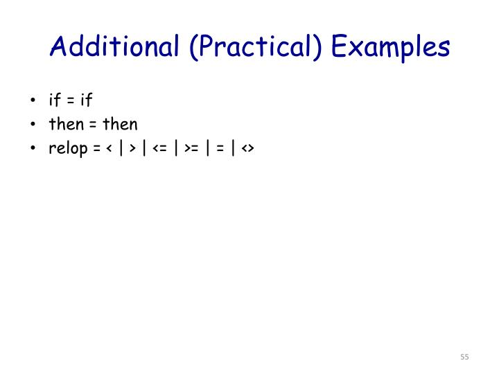 Additional (Practical) Examples