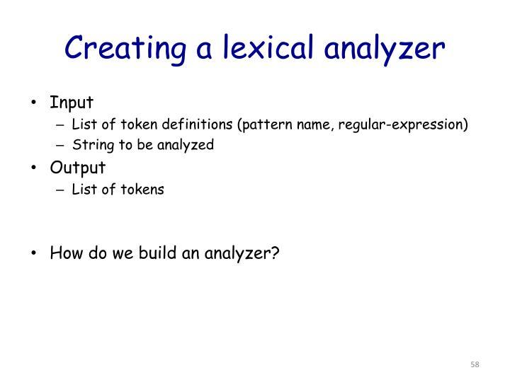 Creating a lexical analyzer