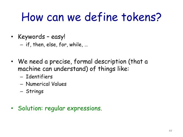 How can we define tokens?