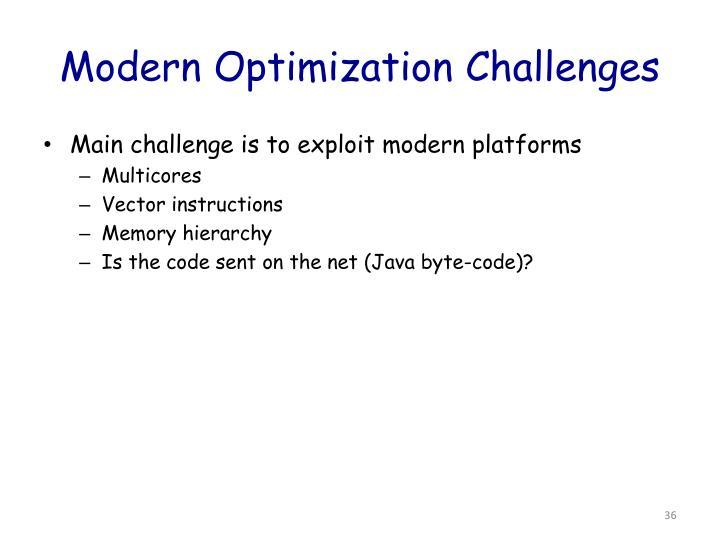 Modern Optimization Challenges