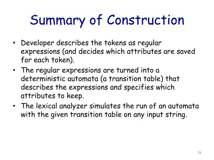 Summary of Construction