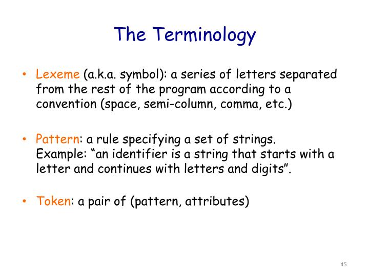 The Terminology