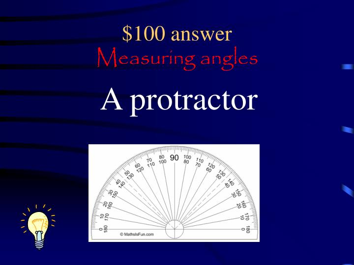 100 answer measuring angles
