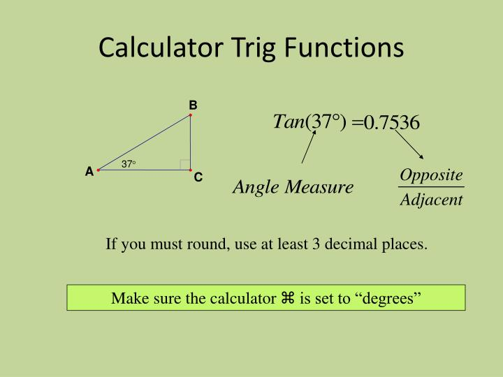 Calculator Trig Functions