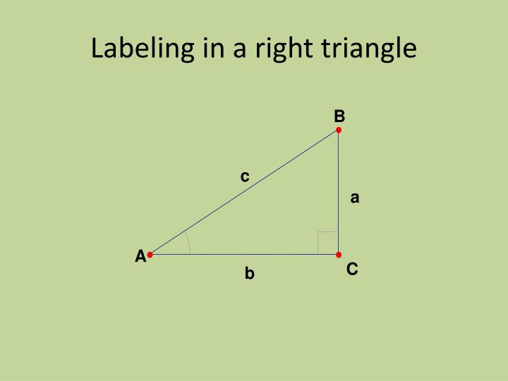 Labeling in a right triangle