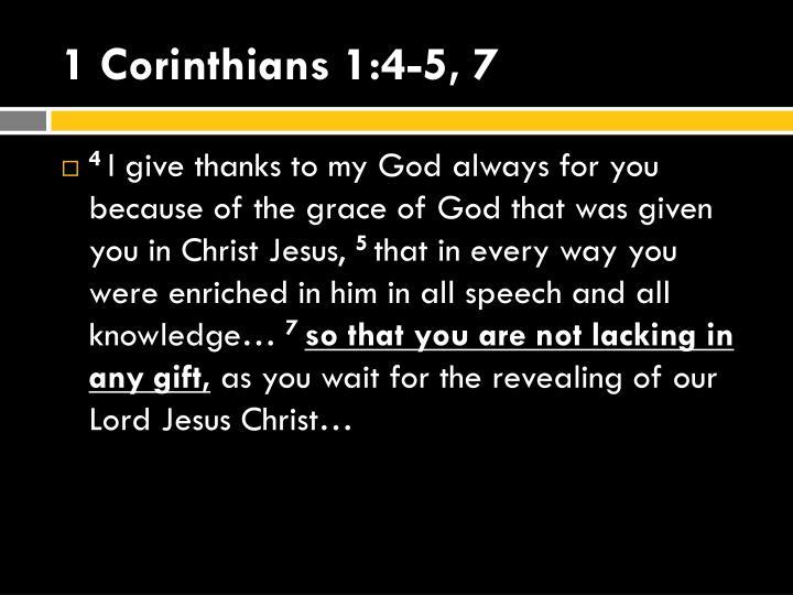 1 Corinthians 1:4-5, 7